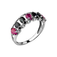 Кольцо с сапфирами и рубинами