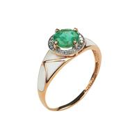 Кольцо с изумрудом и эмалью