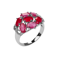 Кольцо с рубином и халцедоном